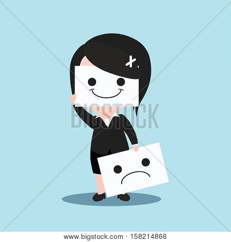 Business Women Is Smile And Sadness, Cartoon