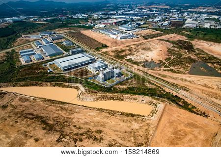 Industrial estate land development countryside aerial view