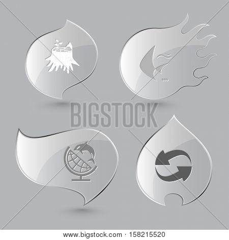 4 images: stub, fish, globe and shamoo, recycle symbol. Nature set. Glass buttons on gray background. Fire theme. Vector icons.
