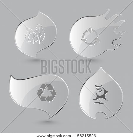 4 images: trees, recycle symbol,  deer. Ecology set. Glass buttons on gray background. Fire theme. Vector icons.