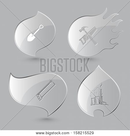 4 images: spade, hand saw and hammer, hacksaw, thermal power engineering. Industrial tools set. Glass buttons on gray background. Fire theme. Vector icons.