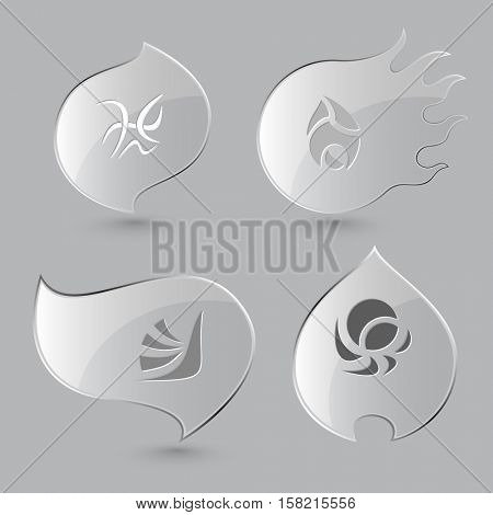 4 images of unique abstract forms. Glass buttons on gray background. Fire theme. Vector icons.
