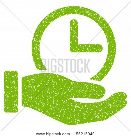 Time Service Hand grainy textured icon for overlay watermark stamps. Flat symbol with dirty texture. Dotted vector eco green ink rubber seal stamp with grunge design on a white background.