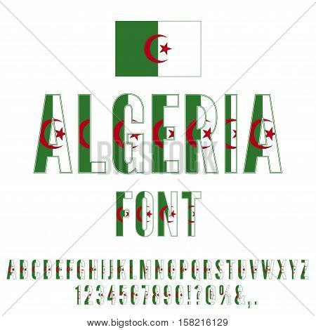 Algeria National Flag stylized flat Font. Alphabet and Numbers in Vector Set