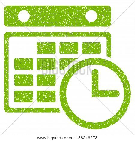 Timetable grainy textured icon for overlay watermark stamps. Flat symbol with dirty texture. Dotted vector eco green ink rubber seal stamp with grunge design on a white background.