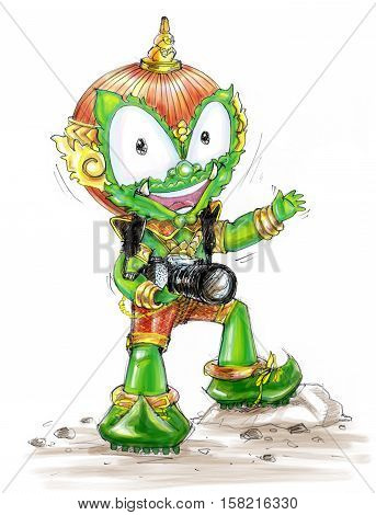 Thai Giant is photographer freelance he go to travel around the world he has a professional camera Cartoon character design pencil sketch and paint on white background.