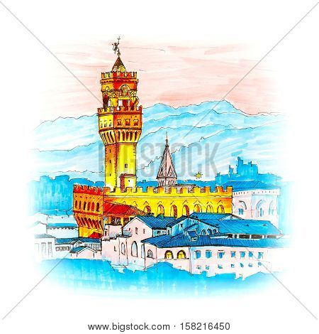 poster of Famous Arnolfo tower of Palazzo Vecchio on the Piazza della Signoria at sunset from Piazzale Michelangelo in Florence, Tuscany, Italy. Picture made liner and markers