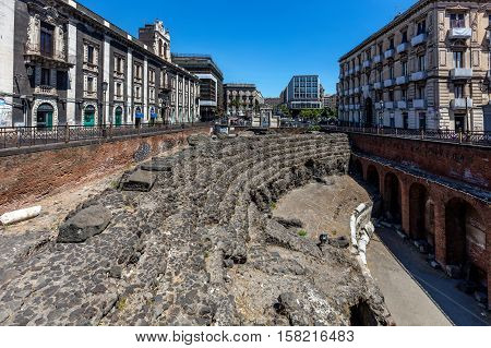 Roman Amphitheater In Catania, Sicily, Italy