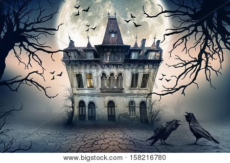 Haunted House with Crows and Spooky Atmosphere.