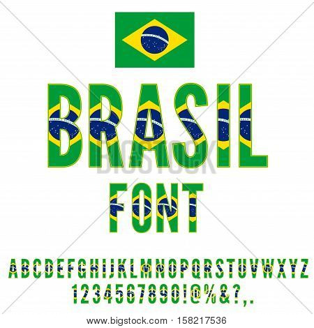 Brasil National Flag stylized flat Font. Alphabet and Numbers in Vector Set