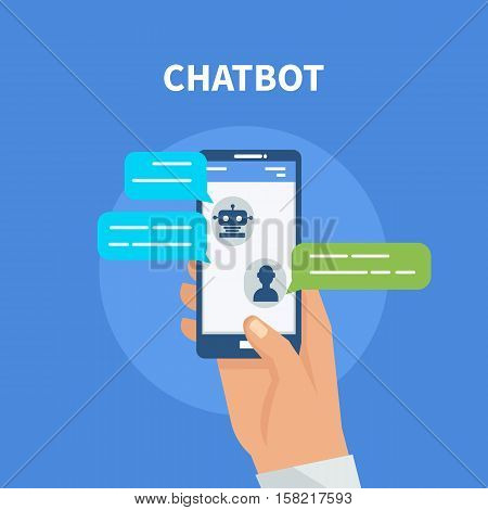 Chatbot concept. User chatting with chatbot in mobile application. Vector illustration.