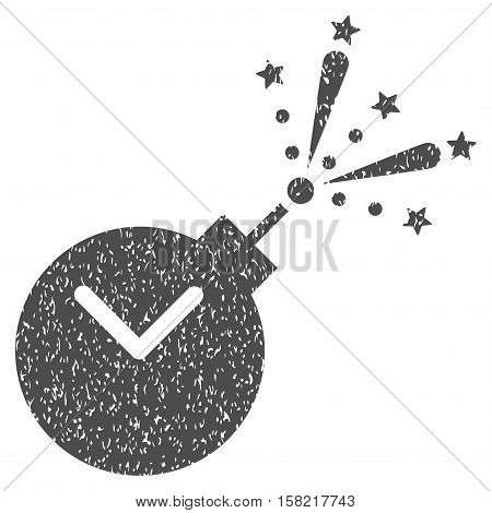 Time Fireworks Charge grainy textured icon for overlay watermark stamps. Flat symbol with dust texture. Dotted vector gray ink rubber seal stamp with grunge design on a white background.