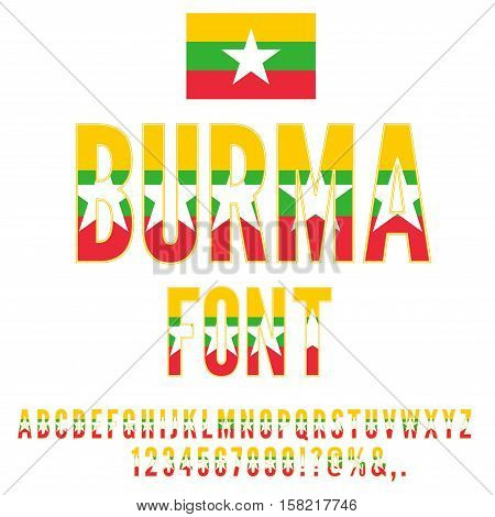 Burma National Flag stylized Font. Alphabet and Numbers in Vector Set