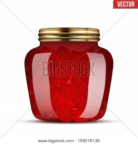 Canning Glass Jar with strawberries jam. Vector Illustration isolated on transparent background.