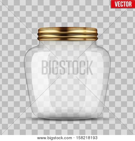 Glass Jar for canning and preserving. Heart form. With closed metal cover. Vector Illustration isolated on transparent background.