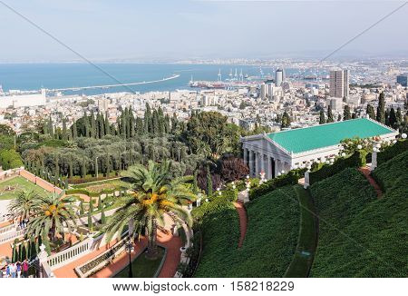 Haifa Israel - November 19 2016 : View of downtown Haifa and Haifa harbor and bay. View from Mount Carmel