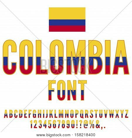 Colombia National Flag flat stylized Font. Alphabet and Numbers in Vector Set