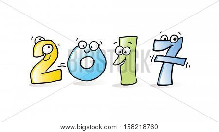 2017 new year cute, funny vector cartoon numbers.