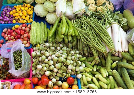 Tropical vegetables in market, Thailand