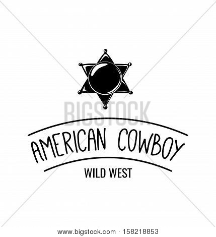 Sheriff badge star label. American Cowboy Wild West. on white background