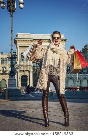 Happy Tourist Woman Near Galleria Vittorio Emanuele Ii Rejoicing