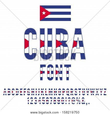 Cuba National Flag flat stylized Font. Alphabet and Numbers in Vector Set