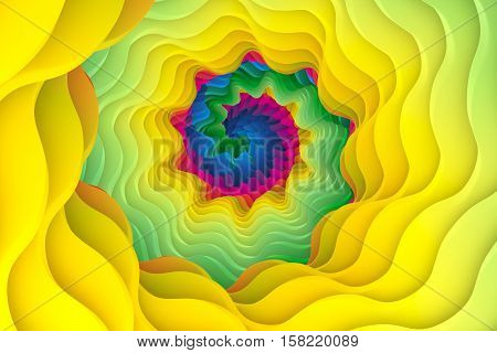 color swirl wave yellow background 3d illustration