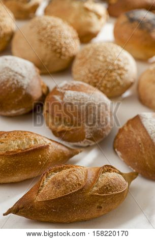 Small French bread rolls on a table at the baker's France