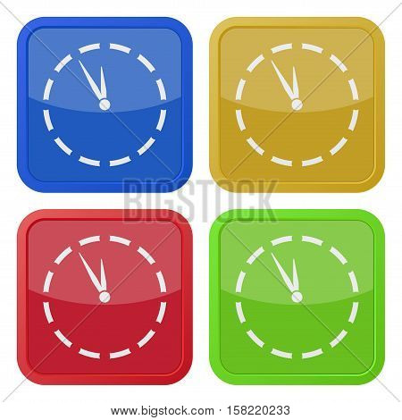 Set of four square colored buttons and icons. Last minute clock.