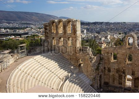 Acropolis theatre view in Athens, Greece, october