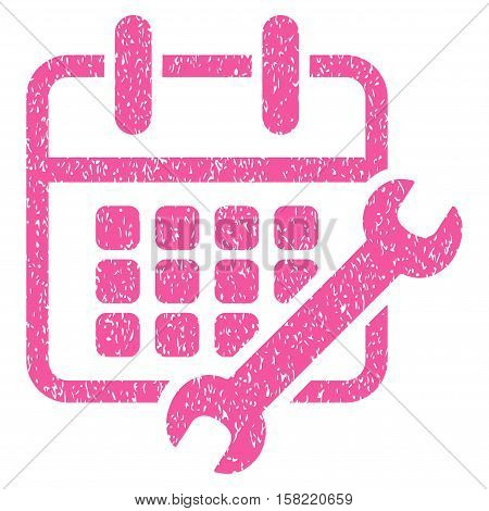 Calendar Configure grainy textured icon for overlay watermark stamps. Flat symbol with dust texture. Dotted vector pink ink rubber seal stamp with grunge design on a white background.