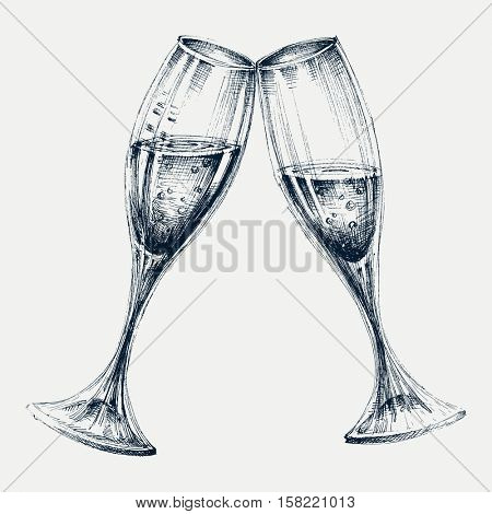 Champagne glasses isolated, New Year's party design