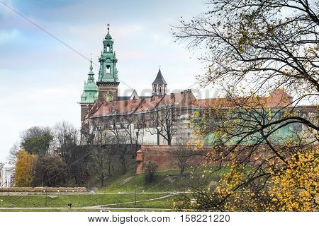 Wawel Royal Castle And Chapel, Krakow During Autumn, Poland