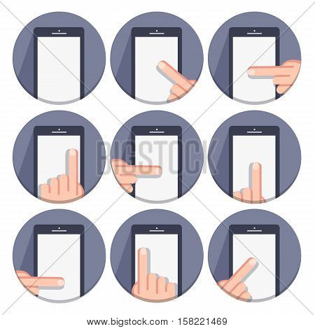 flat round icons with a finger and a mobile device with gestures