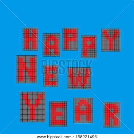 text - Happy New Year. On a blue background. Pixel letters. vector illustration