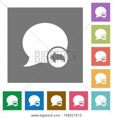 Reply blog comment flat icons on simple color square background.