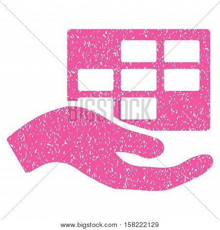 Service Schedule Hand grainy textured icon for overlay watermark stamps. Flat symbol with dust texture. Dotted vector pink ink rubber seal stamp with grunge design on a white background.