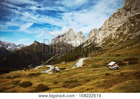 Passo Pordoi. Mountain road - serpentine in the mountains Dolomites Italy