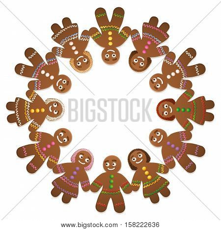 Gingerbread men and women - circle of friends for christmas time.