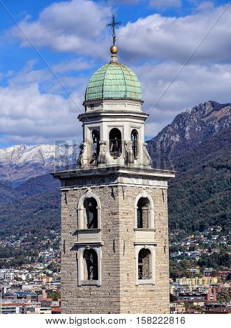 Tower of the Cathedral of Saint Lawrence in the city of Lugano in the Swiss Canton of Ticino.