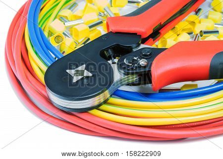 Power wires with cord end terminals crimper on a white background