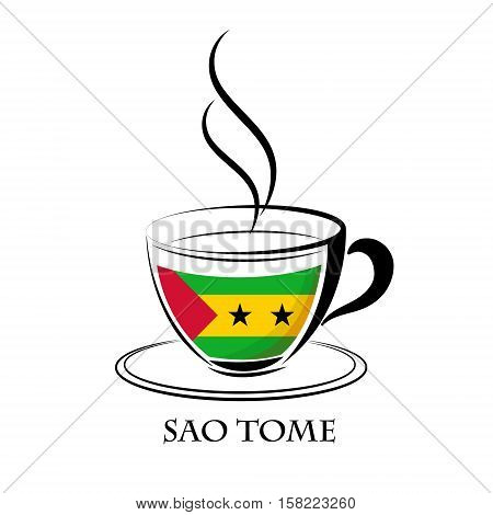 coffee logo made from the flag of Sao Tome