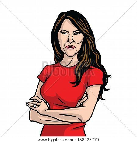 November 24, 2016. Melania Trump US First Lady Vector Portrait