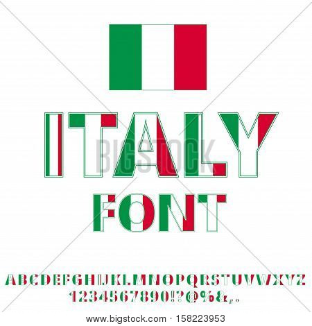 Italy national flag flat stylized font. Alphabet and Numbers in Vector Set