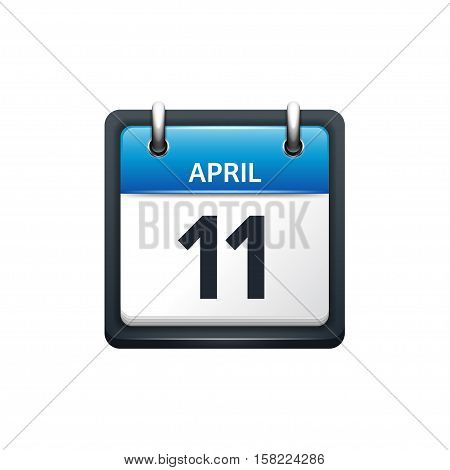 April 11. Calendar icon.Vector illustration, flat style.Month and date..Sunday, Monday, Tuesday, Wednesday, Thursday, Friday, Saturday.Week, weekend, red letter day. 2017, 2018 year.Holidays.