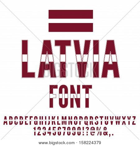Latvia national flag flat stylized font. Alphabet and Numbers in Vector Set