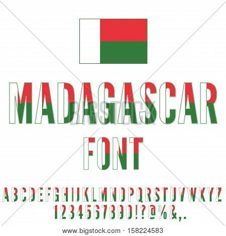 Madagascar national flag flat stylized font. Alphabet and Numbers in Vector Set
