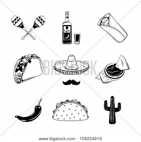 Nachos, a Burrito, Sombrero Mexican Hat and Mustache, Taco, Tequila and shot glass, Maracas, Cactus, chili Pepper. Mexican Food. Latino Kitchen Theme Vector Illustration.