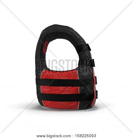 Red life vest jacket on white background. 3D illustration