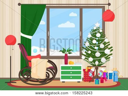 Christmas livingroom flat interior with rocking chair vector illustration. Christmas New Year tree. Winter landscape outside